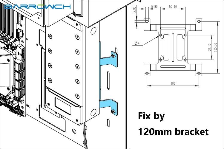 Купить с кэшбэком BARROW Length 150mm/200mm/250mm Reservoir Acrylic Square Intelligent Water Tank Magic Coolant PMMA Tank 5V Aurora Light to AURA