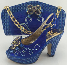 2017 Fashion Italian Shoes With Matching Bags For Women Party Fashion Wedding Pumps African Shoes And Bag Set ME3313