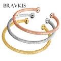 BRAVKIS (3 pçs/set) juventude colorido punho aberto pulseira bangle set para as mulheres banhado a ouro cabelo empate pulseira pulseras jóias BUB0071