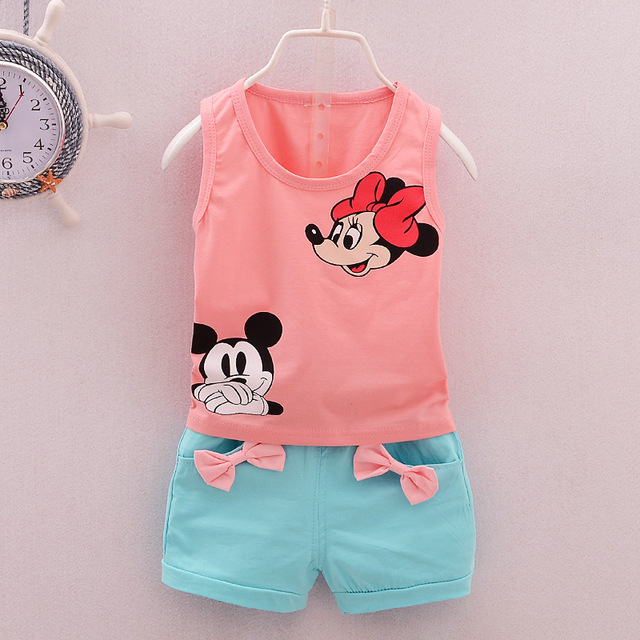 Unisex Clothing Set Mickey&Minnie Printed Vest Boys Clothing Summer Kids Clothes Girls Clothing Vest+Shorts Children Clothing