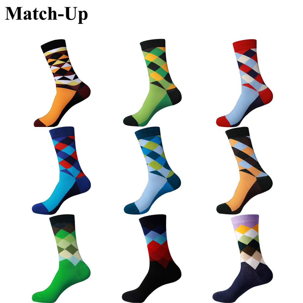 Match-Up  Men Colorful Combed Cotton Socks Diamond Styles