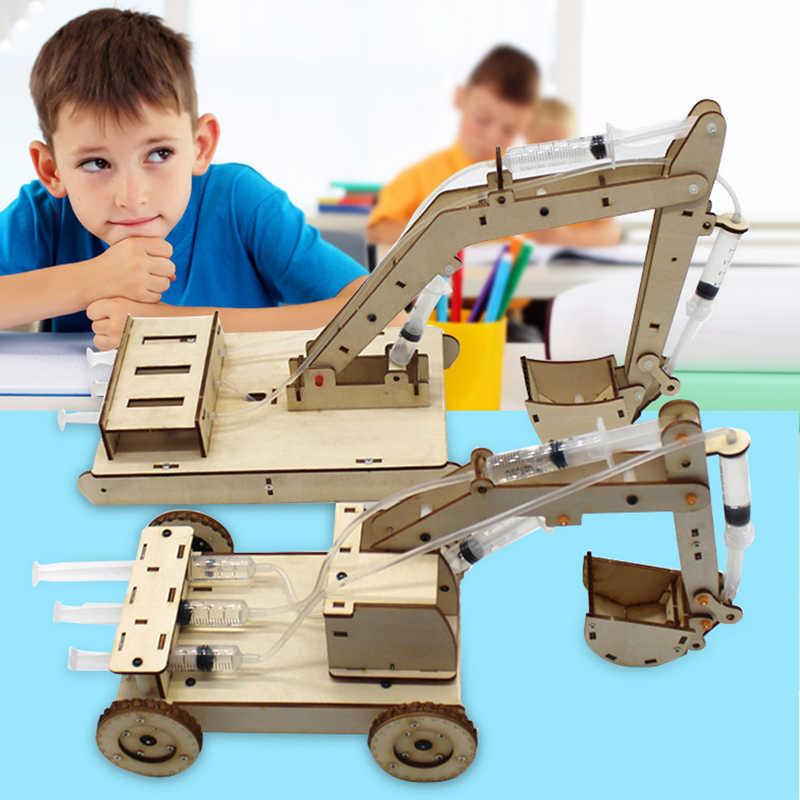 Mainan Stem untuk Anak-anak Pendidikan Ilmu Percobaan Teknologi Set Mainan DIY Hidrolik Excavator Model Puzzle Dicat Mainan Anak