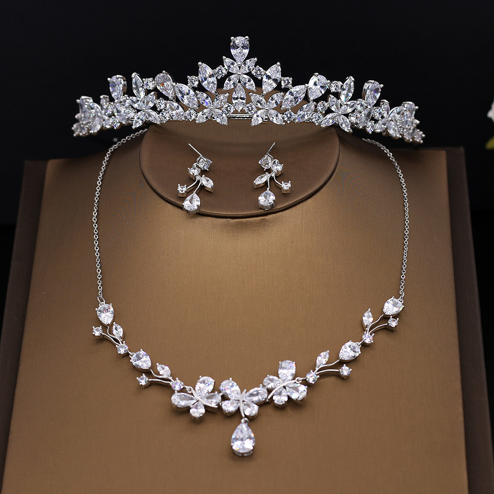 Vysor Full Cubic Zirconia Wedding Jewelry Set Clear Zircon Stone Brides Tiara Necklace Earrings Sets CZ Stone Bridal Jewellery цена