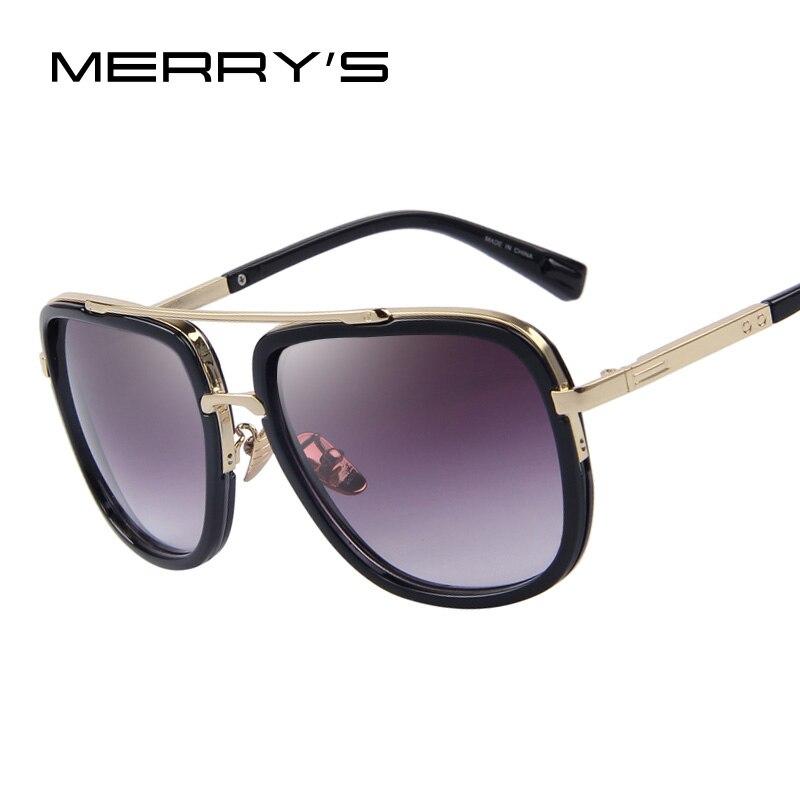 MERRY'S Mode Hommes lunettes de Soleil Classique Femmes Marque Designer En Métal Carré lunettes de Soleil UV400
