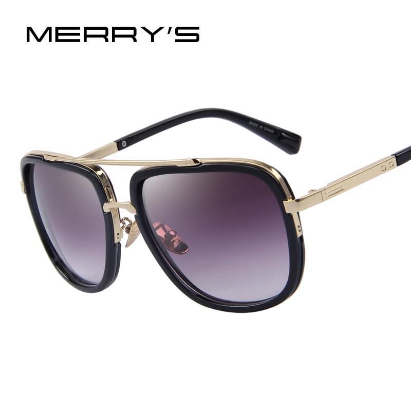 MERRY'S Mode Männer Sonnenbrille Klassischen Frauen Marke Designer Metall Quadrat sonnenbrille UV400