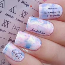 1 Sheet Letter Nail Art Water Decals Geometric Figure Transfer Stickers Design DS306