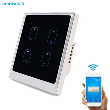 Smart Wifi Light Switch 1/2/4 Gang Modern Touch Panel Wall Switch Timing Function APP Remote Control work with Echo Google Home qiachip uk plug wifi smart home switch 4 gang light wall switch app remote control work with amazon alexa timing touch switch