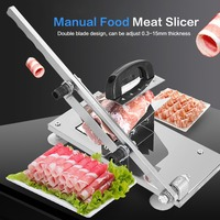 Adjustable Double blade Manual Frozen Meat Slicer Beef Mutton Sheet Roll Cleavers Cutter alloy steel blade durable