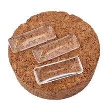 Onwear 10 pçs 10x25mm retangular plana transparente cabochão de vidro transparente diy jóias acessórios espessura 4.3mm