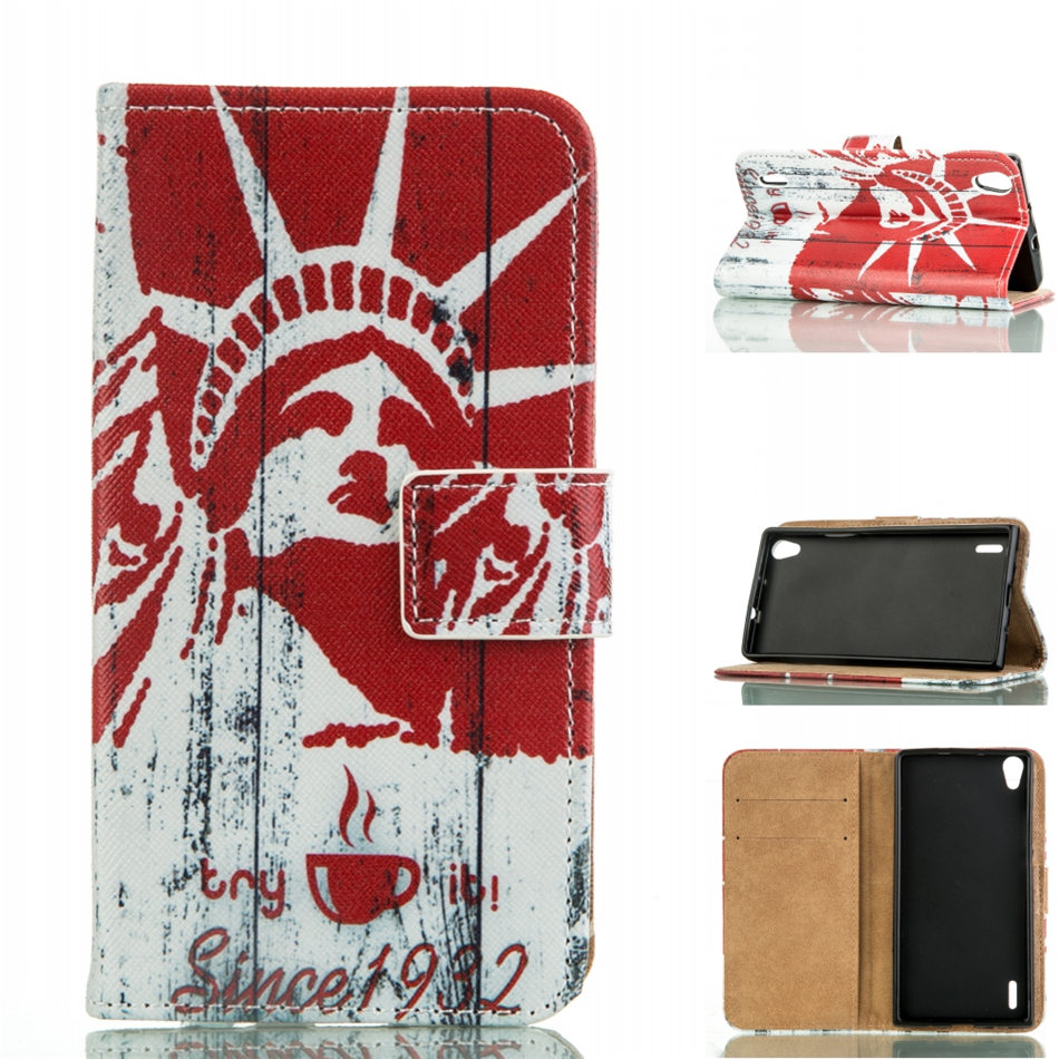 Case Luxury Wallet PU Leather Case For Huawei Ascend P7 P7-L00 P7-L05 P7-L10 P7-L11 Flip Phone Cover Fundas Coque Bag DP23Z