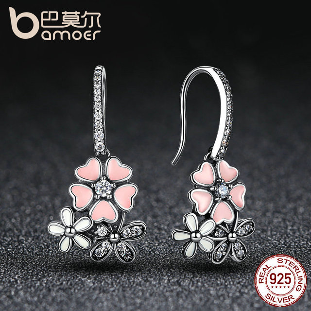 925 Sterling Silver Pink Daisy Cherry Blossom Drop Earring 1