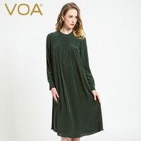VOA vintage donkergroen zijde jurk lange mouwen zijde plooien brede jurken A6080