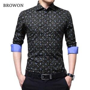 Image 4 - BROWON Spring Autumn 2020 Brand Luxury Men Shirt 100% Cotton Print Design Long Sleeve Slim Shirt for Man Floral 2018 Camiseta