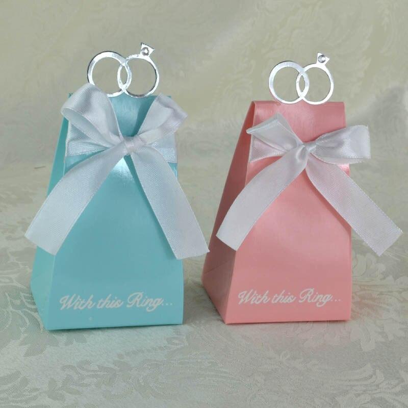 Wedding Favor And Festival: Casamento 500pcs Blue Diamond Ring Wedding Favor Boxes