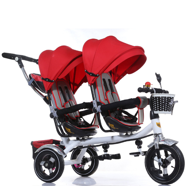 Updated good quality twins child tricycle bike double seats tricycle trolley baby bike baby stroller for 6monthes to 6 years