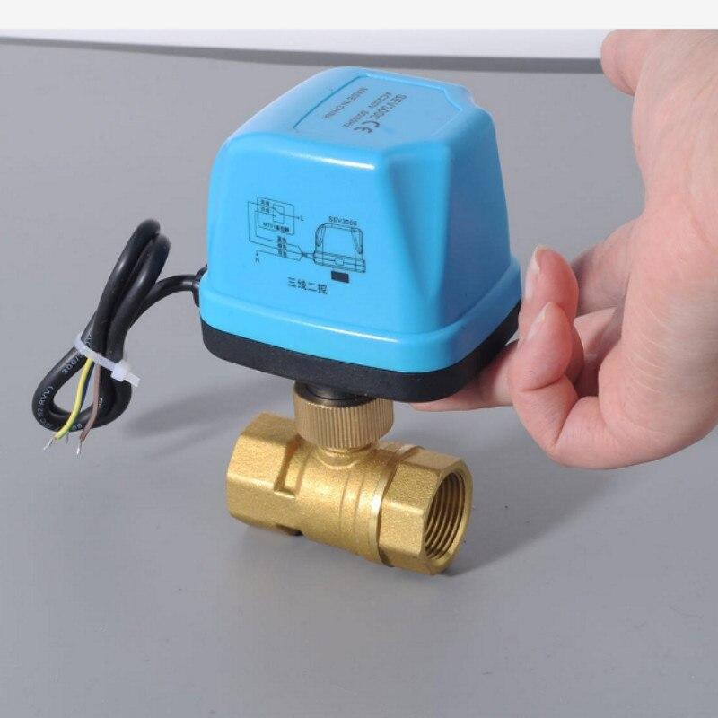 AC220V Électrique Ball Valve En Laiton Motorisé Ball Valve type de Commutateur électrique deux-façon vannes DN15 DN20 DN25 DN32 DN40
