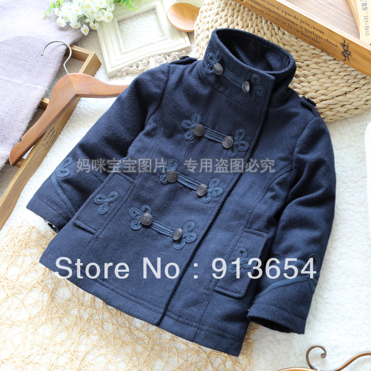 Free shipping new 2013 autumn winter baby clothing girl's fashion WOOL COATS medium-long baby outerwear trench girls overcoat
