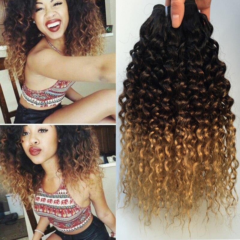 Indien Profonde Bouclés Vierge Faisceaux de Cheveux Trois Tone Ombre Crépus Cheveux bouclés Armure Brun Bourgogne Blonde Afro Cu.