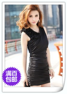 a68aa63ac10 Mushroom summer 2013 women's sexy slim hip V-neck pleated one-piece dress
