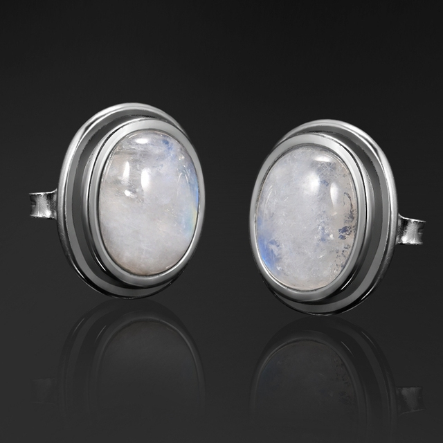 Natural 8x10MM Moonstone 925 Sterling Silver Stud Earring For Women Vintage Jewelry Engagement Party Anniversary Gift Wholesale