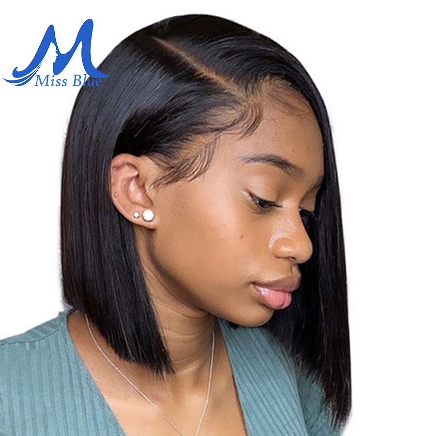 MissBlue 13x6 Parting Space Short Lace Front Human Hair Wigs For Black Women Natural Color Brazilian Hair BoB Wig With Baby Hair(China)