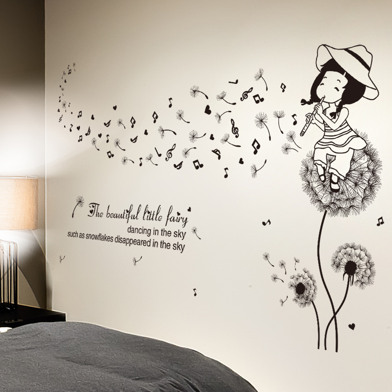 5 01 38 De Reduction Shijuehezi Fleurs De Pissenlit Noir Sticker Mural Pvc Bricolage Dessin Anime Fille Stickers Muraux Pour Enfants Chambres