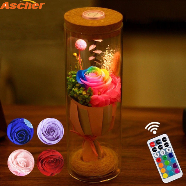 Control Light Rgb Home Lighting ascher Rose Birthday Gift In Dimmer 12Off Bottle Flower Remote 28 Bedside Led With Us16 Real Lamp Decor Night 9W2HEDI