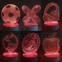 Kreative Geschenk Ferngesteuerte USB 3D APFEL NACHT LAMPE Acryl Globus Spirale Fußball Headset Tischlampe Licht Bulbing Für Kinder