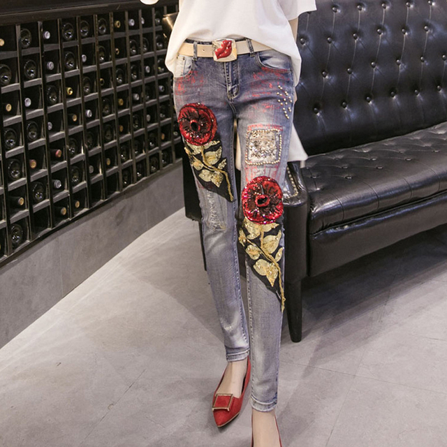 European New Jeans  2017  Spring & Autumn Slim Sequined  Beading Zipper High Quality Ripped Pencil Pant