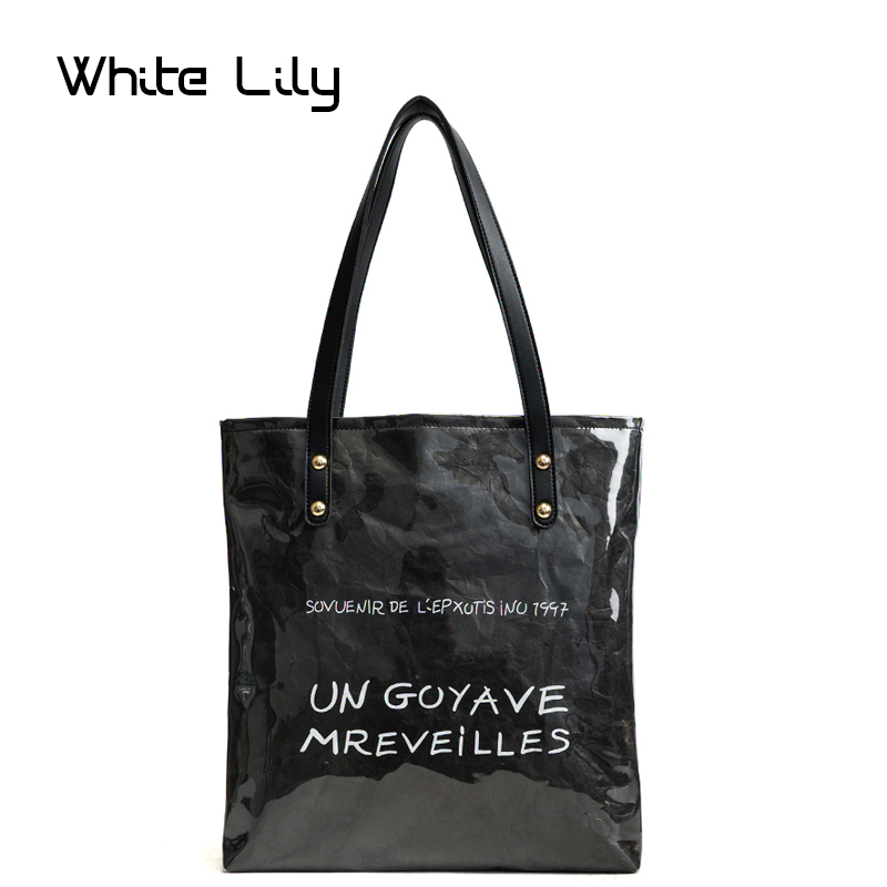 Vintage Kraft Paper Shopping Bag Double Layer PVC Clear Transparent Bag Waterproof Causal Tote Bag Shoulder Bag Handbag