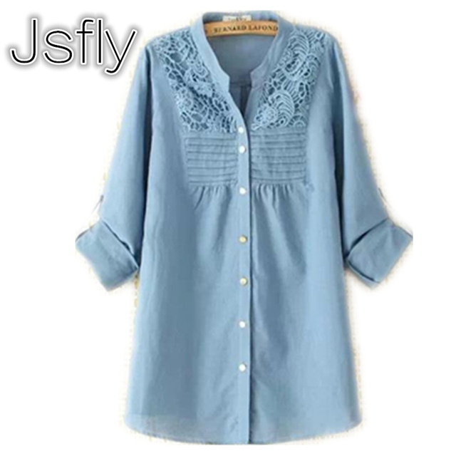 32ba6a1395acd2 Plus rozmiar maxi kobiety clothing mody koronki z długim rękawem szydełka  bawełniane i Lniane Bluzki Damskie