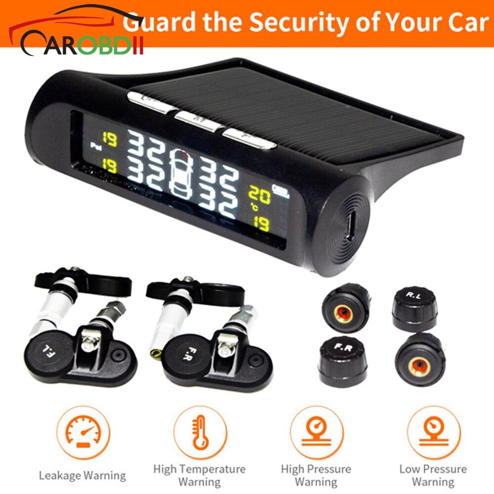 Solar Universal TPMS llanta inalámbrica sistema de monitorización de la presión de carga Solar TPMS interior/sensores externos coches pantalla LCD