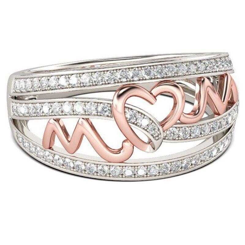 GüNstig Einkaufen Mode Charms Silber Gold Farbe Mutter Der Tag Mom Ringe Für Frauen Mode Zirkon Stein Heißer Geschenk Ring Schmuck Dropshipping