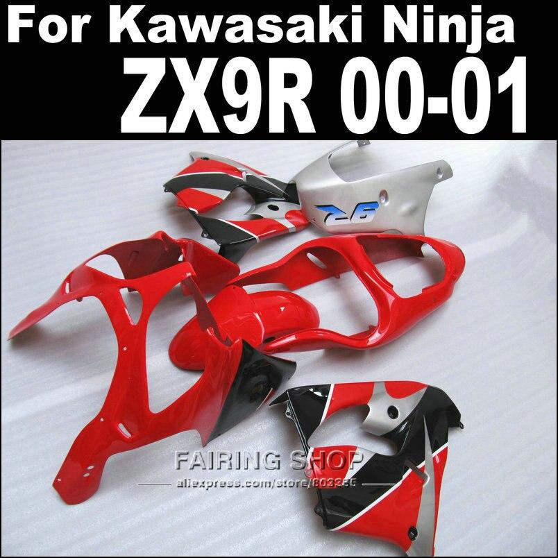 Для Kawasaki ниндзя ZX-9r с zx9r зализа комплект для 2000 2001 00 01 ( бесплатная доставка EMS ) АБС-пластикатов Обтекатели черный+ре+серебро xl25