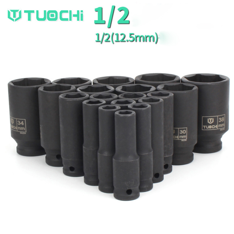 1 Pcs Impact Socket 1/2 (12.5 Mm) 8-41 Mm Universele Socket Metric Drive Diepe Socket Set Wrench Voor Air Pneumatische Tool Reparatie Tools