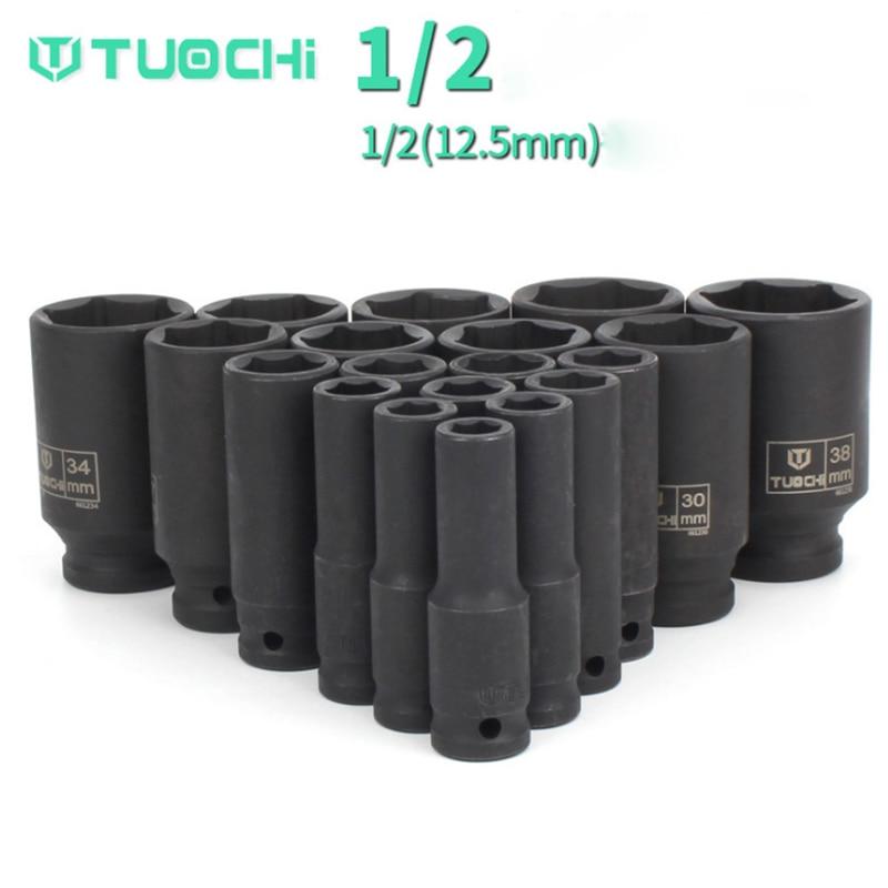Impact Socket Set 1/2 (12.5mm) 8-41mm Universal Metric Drive Deep Wrench for Air Pneumatic Tool Repair Tools