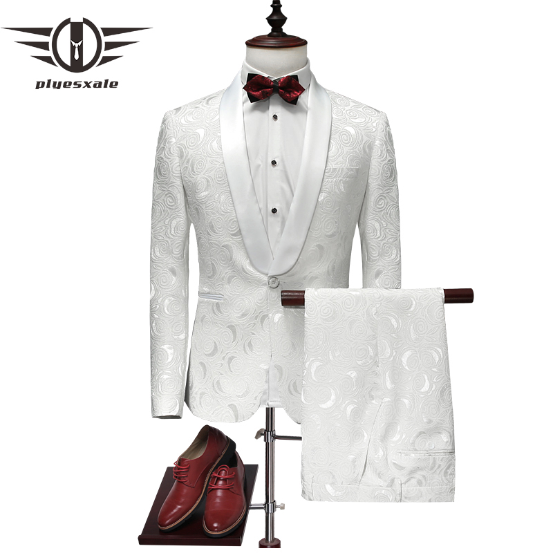 Plyesxale 2018 White Wedding Tuxedos For Men Slim Fit Suits