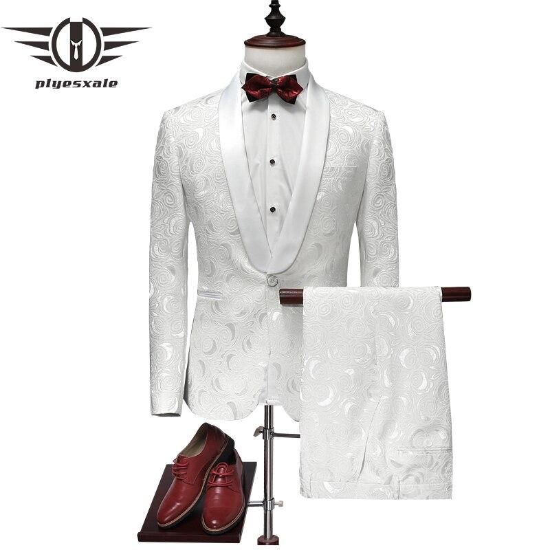 ed3a341f09ed Plyesxale traje hombres 2018 último abrigo pantalones diseños blanco boda  esmoquin para hombres Slim Fit hombres trajes impresos ropa de marca q315