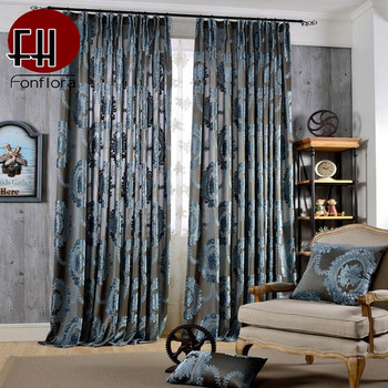 Europe Luxury Curtains For Living Room Bedroom Jacquard Curtains Floral Blue Curtains On The Window Kitchen Drapes Custom Panel Leather Bag