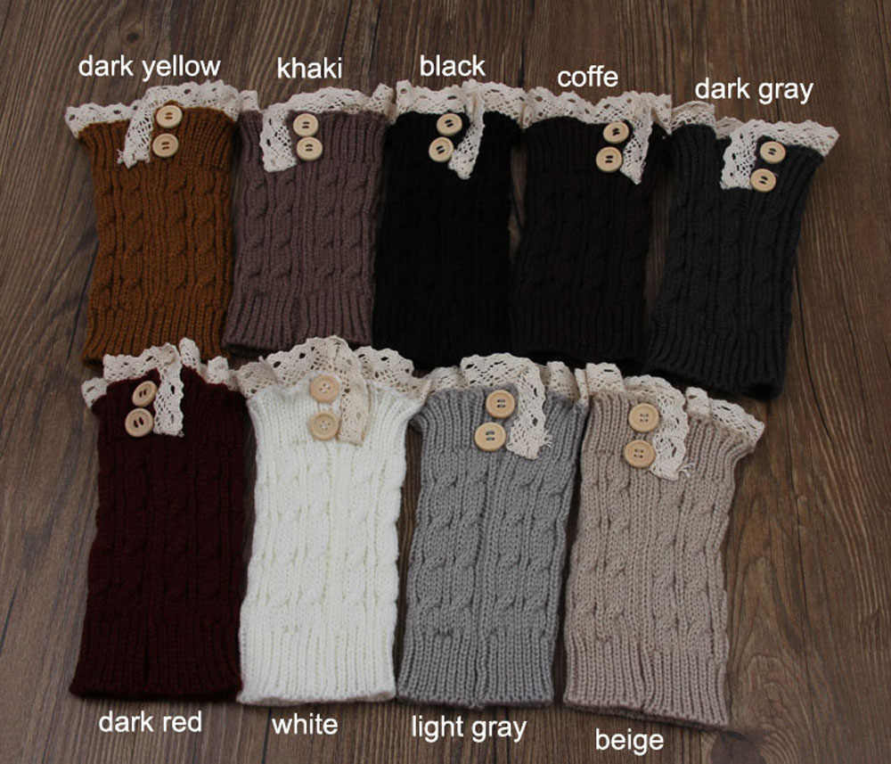 82a43afafa ... Fashion double button cable knitted boot cuff short leg warmer womens  boot socks knitted lace trim ...