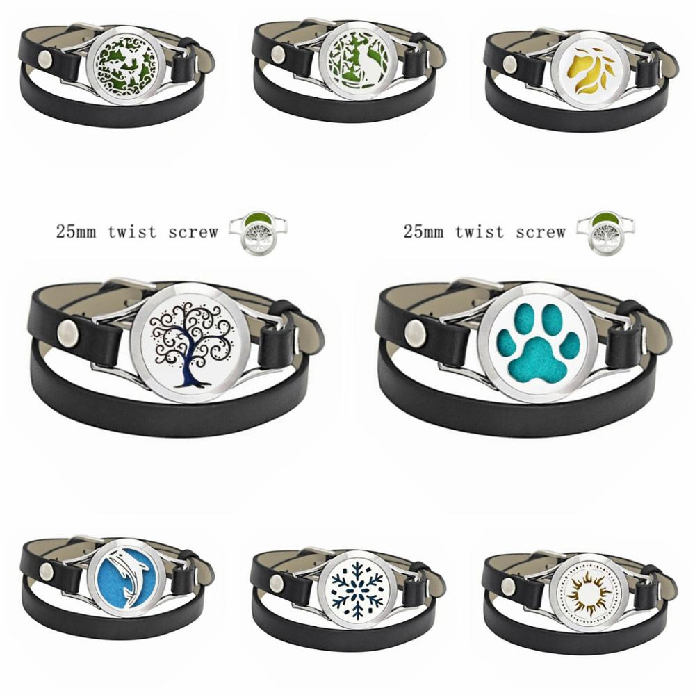 tree of life paw 25mm Twist 316L Stainless Steel Essential Oil Diffuser Bracelet Aroma Perfume PU Leather Bracelets 10 Pads gift