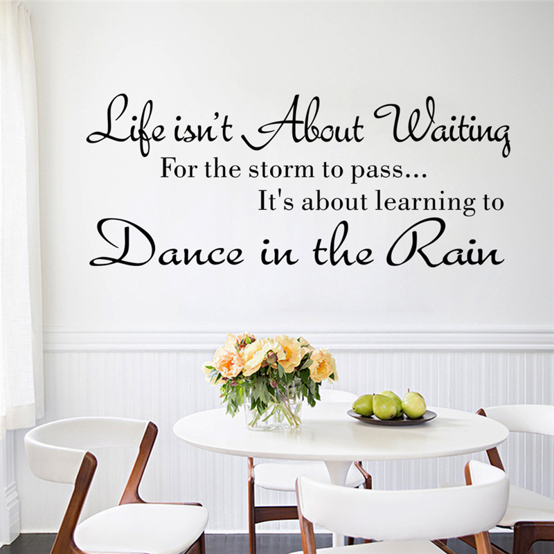 life isn't about waiting dance in the rain inspirational letters wall stickers living room home decor decals vinyl art