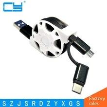 2 in 1 Typ C & Android Micro USB Sync Ladegerät kabel für Samsung s9 plus für xiaomi 6x huawei p20 lite typ c Versenkbare kabel