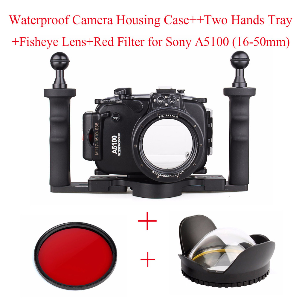 Meikon 40m Underwater Camera Housing Case for Sony A5100 (16-50mm),Waterproof Camera Bags+Two Hands Tray+Fisheye Lens+Red Filter meikon 40m 130ft underwater camera waterproof housing case for canon g7x 67mm round dome port fisheye two hands housing tray