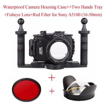Meikon 40m funda Carcasa para cámara subacuática para Sony A5100 (16-50mm), carcasa impermeable para cámara + bandeja + lente ojo de pez + filtro rojo