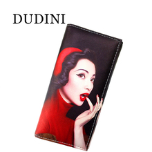 DUDINI  Lady's Cassics Wallets Marilyn Monroe Zero Wallet Creative Women's Clutches Leather Card Holder Bag