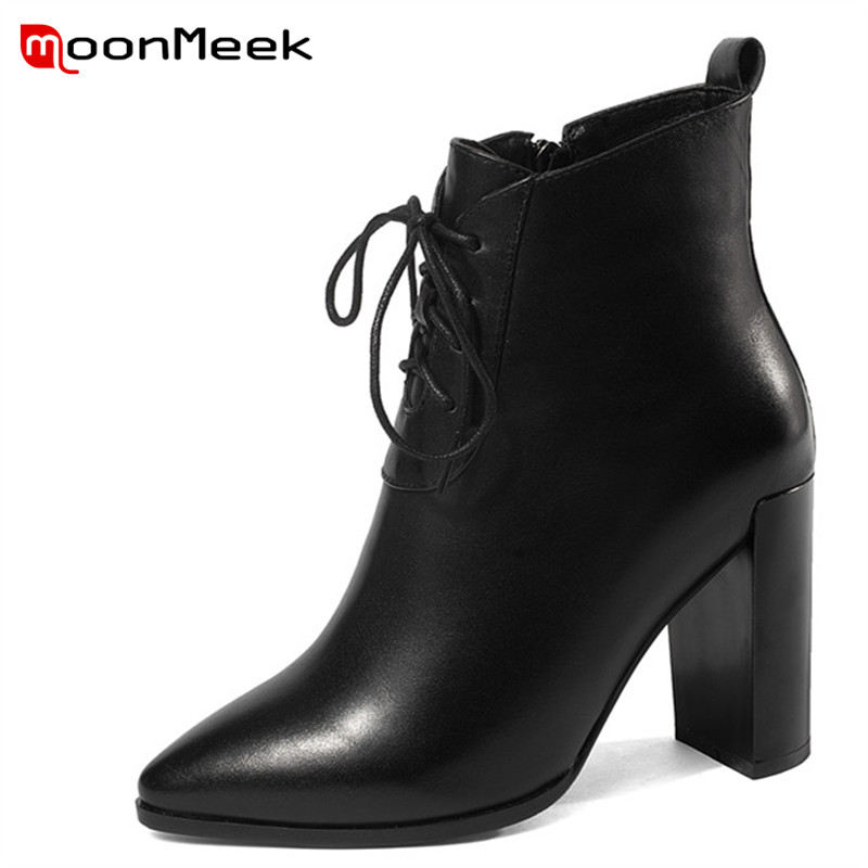 MoonMeek 2018 new arrive autumn winter women boots hot sale ladies genuine leather boots elegant super high heels mid calf boots цена
