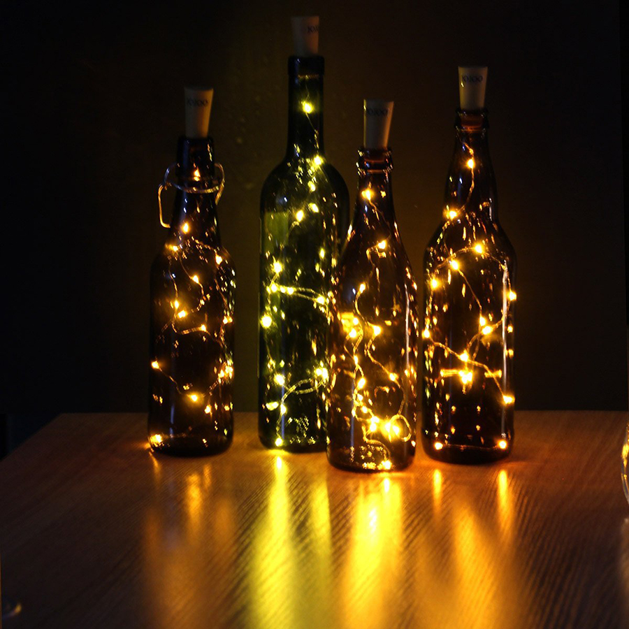 75CM 1M 2M Cork berbentuk botol wain LED Copper Wire Starry Light String Halloween Krismas Holiday Parti Dalaman Hiasan Light