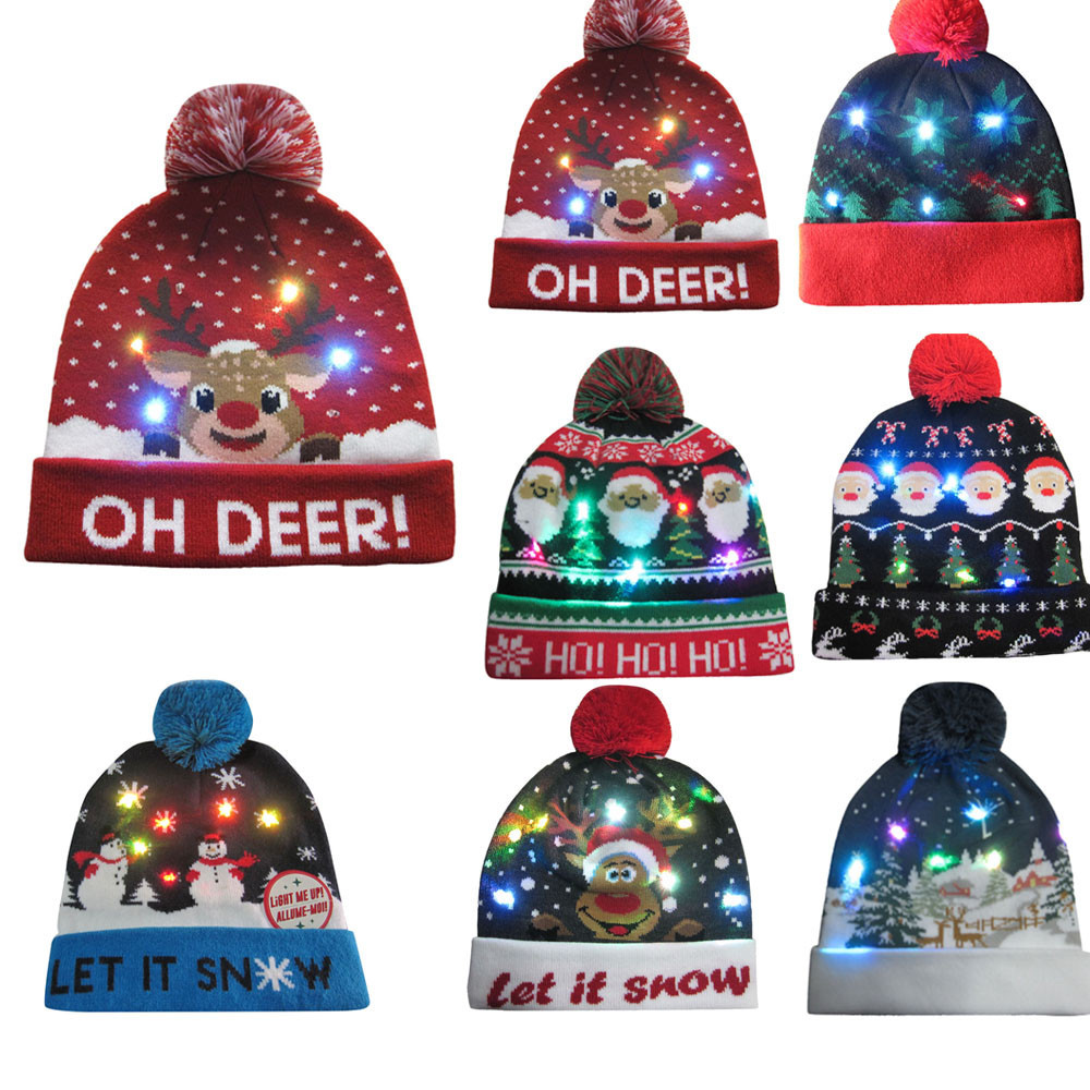 LED Light-up Knitted Ugly Sweater Warm And Comfortable Holiday Xmas Christmas Beanie Sombrero Y50C