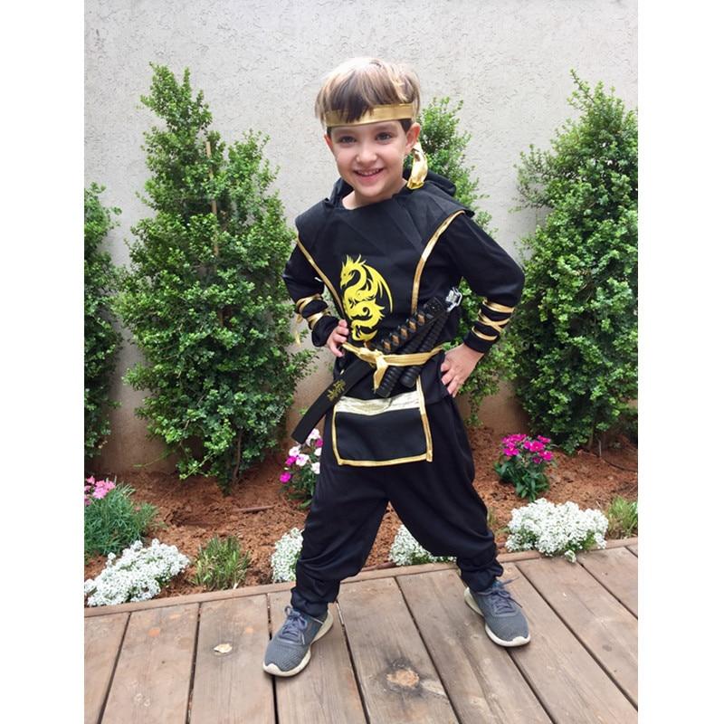 Purim Dragon Ninja Costume Cosplay Warrior Costume Kids Boys Girls Children Swordsman Suit Costumes